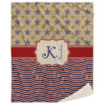 Vintage Stars & Stripes Sherpa Throw Blanket (Personalized)