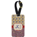 Vintage Stars & Stripes Metal Luggage Tag w/ Name and Initial