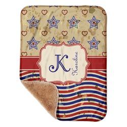 "Vintage Stars & Stripes Sherpa Baby Blanket 30"" x 40"" (Personalized)"