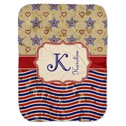 Vintage Stars & Stripes Baby Swaddling Blanket (Personalized)