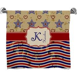 Vintage Stars & Stripes Full Print Bath Towel (Personalized)