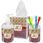 Vintage Stars & Stripes Acrylic Bathroom Accessories Set w/ Name and Initial
