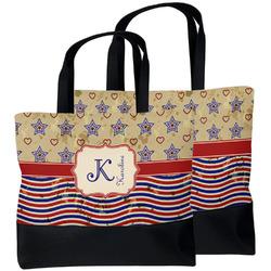 Vintage Stars & Stripes Beach Tote Bag (Personalized)
