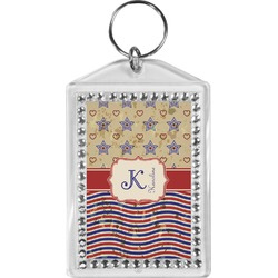 Vintage Stars & Stripes Bling Keychain (Personalized)
