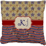 Vintage Stars & Stripes Faux-Linen Throw Pillow (Personalized)