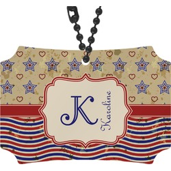 Vintage Stars & Stripes Rear View Mirror Ornament (Personalized)