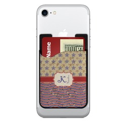 Vintage Stars & Stripes 2-in-1 Cell Phone Credit Card Holder & Screen Cleaner (Personalized)