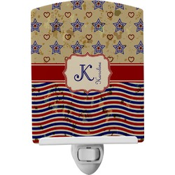 Vintage Stars & Stripes Ceramic Night Light (Personalized)