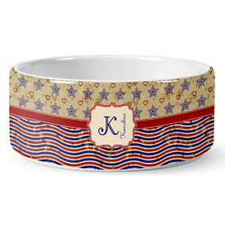 Vintage Stars & Stripes Pet Bowl (Personalized)