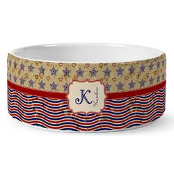 Vintage Stars & Stripes Ceramic Dog Bowl (Personalized)