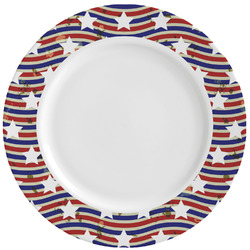 Vintage Stars & Stripes Ceramic Dinner Plates (Set of 4) (Personalized)
