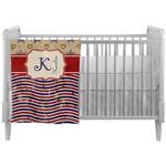 Vintage Stars & Stripes Crib Comforter / Quilt (Personalized)