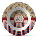 Vintage Stars & Stripes Plastic Bowl - Microwave Safe - Composite Polymer (Personalized)