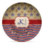 Vintage Stars & Stripes Microwave Safe Plastic Plate - Composite Polymer (Personalized)