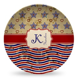 Vintage Stars & Stripes Microwave Safe Plastic Plate - Composite Polymer (Personalized)
