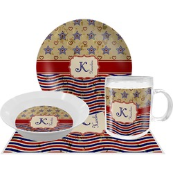 Vintage Stars & Stripes Dinner Set - Single 4 Pc Setting w/ Name and Initial