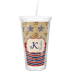 Vintage Stars & Stripes Double Wall Tumbler with Straw (Personalized)