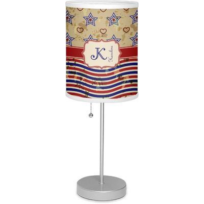 """Vintage Stars & Stripes 7"""" Drum Lamp with Shade (Personalized)"""