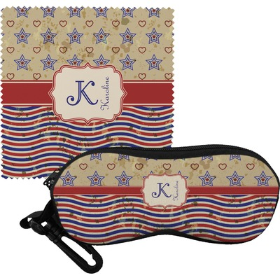 Vintage Stars & Stripes Eyeglass Case & Cloth (Personalized)
