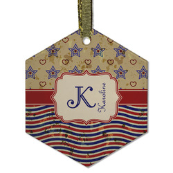 Vintage Stars & Stripes Flat Glass Ornament - Hexagon w/ Name and Initial