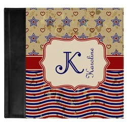 Vintage Stars & Stripes Genuine Leather Baby Memory Book (Personalized)