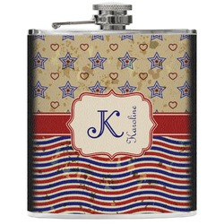 Vintage Stars & Stripes Genuine Leather Flask (Personalized)