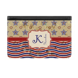 Vintage Stars & Stripes Genuine Leather ID & Card Wallet - Slim Style (Personalized)