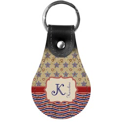 Vintage Stars & Stripes Genuine Leather  Keychain (Personalized)