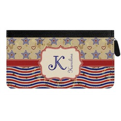 Vintage Stars & Stripes Genuine Leather Ladies Zippered Wallet (Personalized)