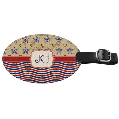 Vintage Stars & Stripes Genuine Leather Oval Luggage Tag (Personalized)