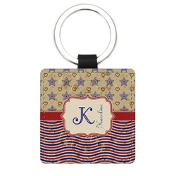 Vintage Stars & Stripes Genuine Leather Rectangular Keychain (Personalized)