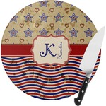 Vintage Stars & Stripes Round Glass Cutting Board (Personalized)