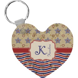 Vintage Stars & Stripes Heart Keychain (Personalized)