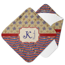 Vintage Stars & Stripes Hooded Baby Towel (Personalized)