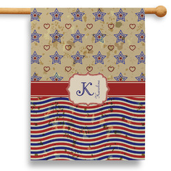 """Vintage Stars & Stripes 28"""" House Flag - Double Sided (Personalized)"""