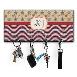 Vintage Stars & Stripes Key Hanger w/ 4 Hooks w/ Name and Initial