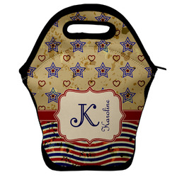 Vintage Stars & Stripes Lunch Bag w/ Name and Initial