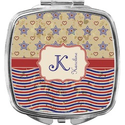 Vintage Stars & Stripes Compact Makeup Mirror (Personalized)