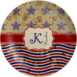 "Vintage Stars & Stripes 8"" Melamine Appetizer / Dessert Plate (Personalized)"