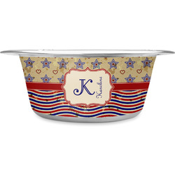 Vintage Stars & Stripes Stainless Steel Pet Bowl (Personalized)