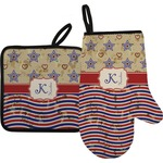 Vintage Stars & Stripes Oven Mitt & Pot Holder (Personalized)