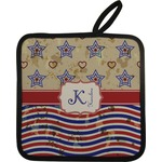 Vintage Stars & Stripes Pot Holder w/ Name and Initial