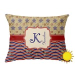 Vintage Stars & Stripes Outdoor Throw Pillow (Rectangular) (Personalized)
