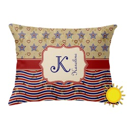 Vintage Stars & Stripes Outdoor Throw Pillow (Rectangular) (Personalized)