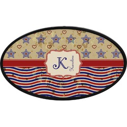 Vintage Stars & Stripes Oval Trailer Hitch Cover (Personalized)