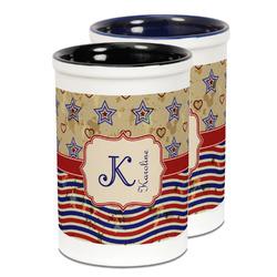 Vintage Stars & Stripes Ceramic Pencil Holder - Large