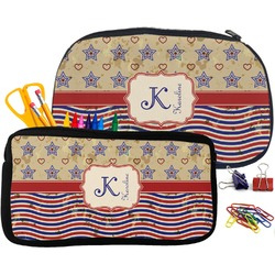 Vintage Stars & Stripes Pencil / School Supplies Bag (Personalized)