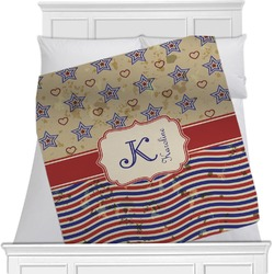"""Vintage Stars & Stripes Fleece Blanket - Queen / King - 90""""x90"""" - Double Sided (Personalized)"""