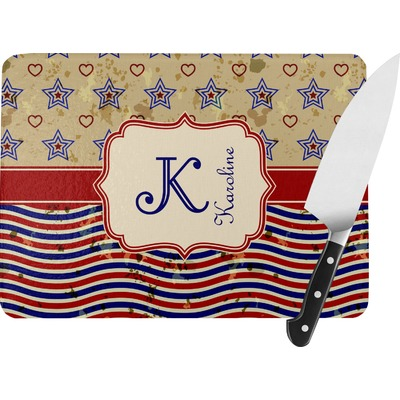 Vintage Stars & Stripes Rectangular Glass Cutting Board (Personalized)