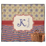 Vintage Stars & Stripes Outdoor Picnic Blanket (Personalized)